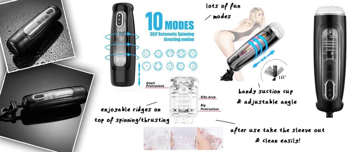 Blowjob machine: Spinning/Thrusting Masturbation Cup