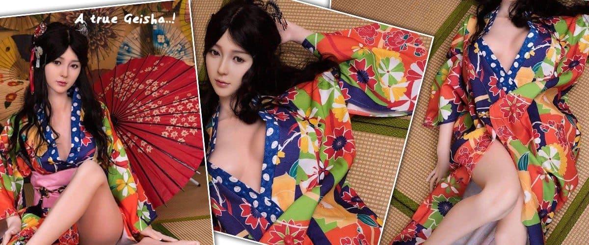 japanese love doll Nell posing as geisha