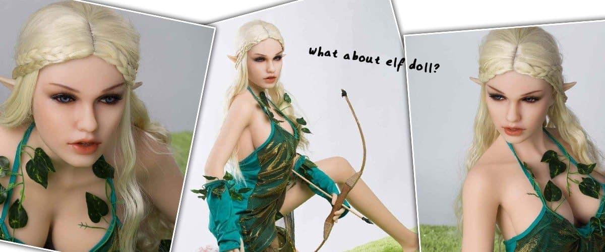 elf fantasy sex doll posing with bow