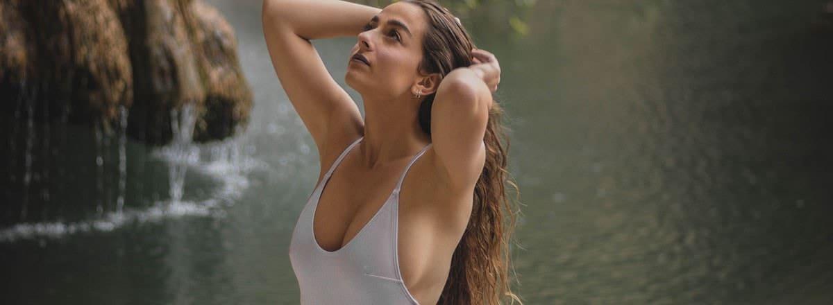 auto fleshlight and woman at waterfall