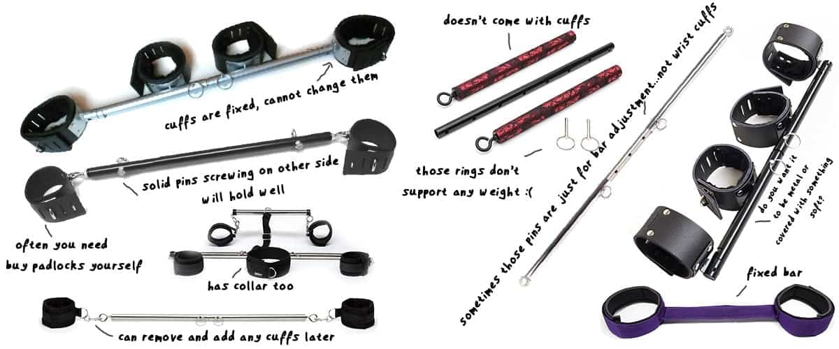many spreader bars compared side by side