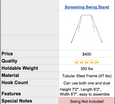 screaming swing stand specs