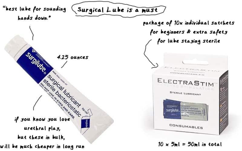 sounding lube surgilube sterile lube size