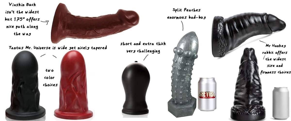 fat dildos side by side to see the brutal size