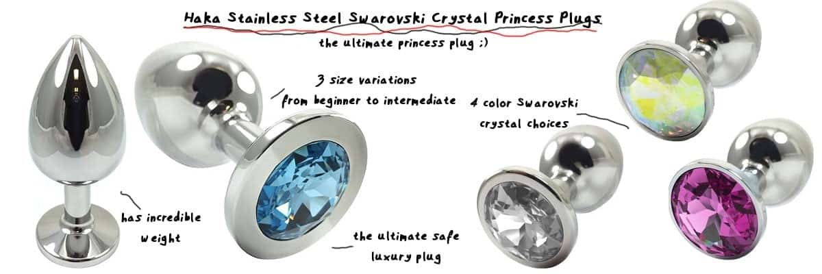 different sizes haka jeweled crystal princess butt plug from stainless steel