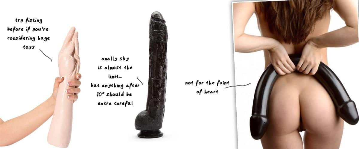 huge dildo examples compared with size of hand