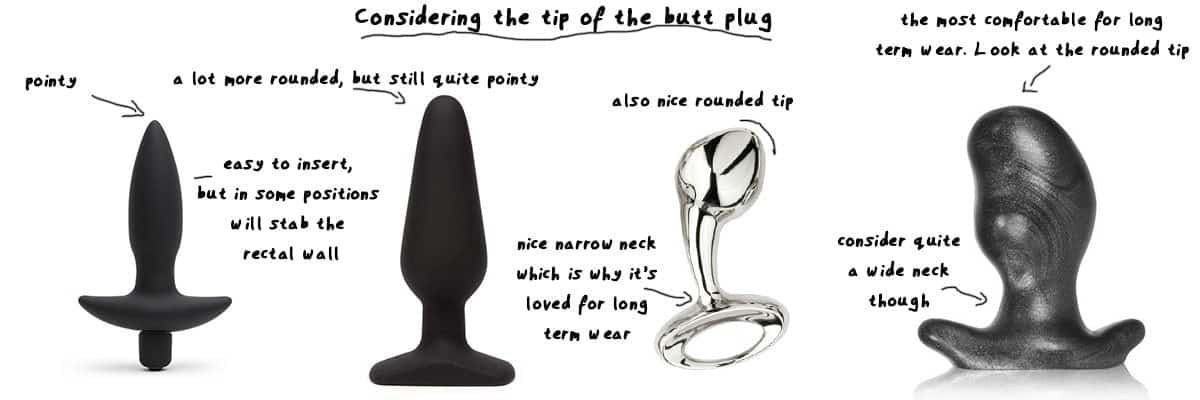 pointy tip vs rounded tip on the silicone butt plugs
