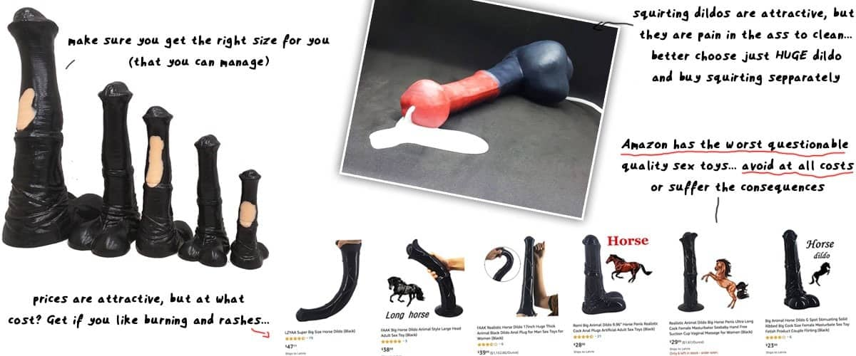 various size equine horse sex toys