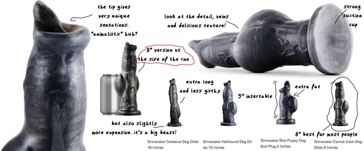 various size sinnovator dog and wolf canine dildos