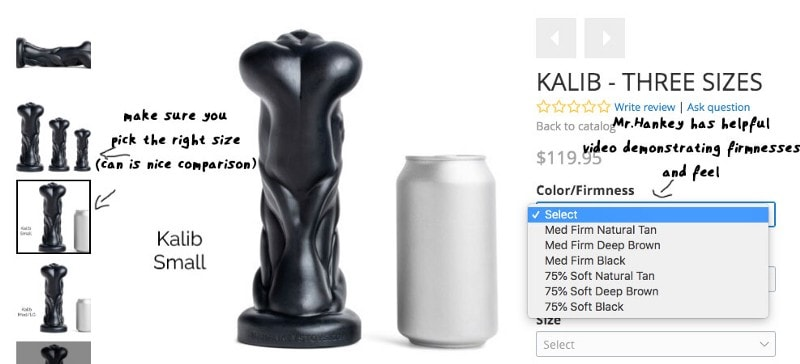 visual explanation of how to understand dildo size and firmness