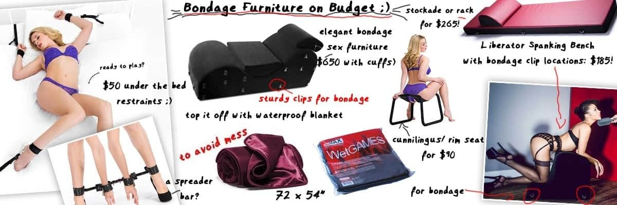 various bondage chairs and bdsm beds on budget