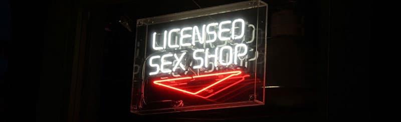 licensed sex shop neon sign