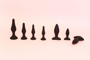 Sex toy - butt plugs lined up.