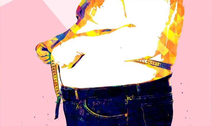 fat man measuring stomach