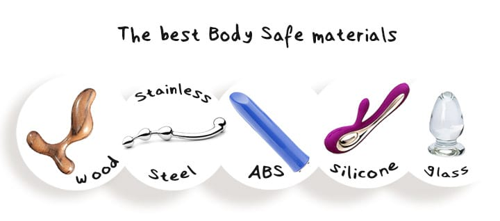 Body Safe Materials Shown - Silicone Glass Stainless Steel ABS Wood