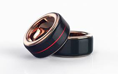 a black stainless steel heartbeat ring